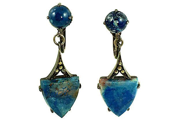 Art Deco Silver Lapis Lazuli Earrings - Yourgreatfinds, Vintage Jewelry - 1