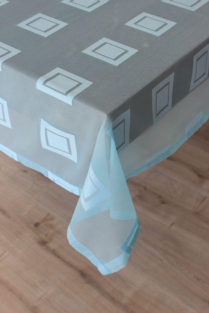 Buz Mavisi Kareli Masa Örtüsü