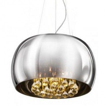 Lampa wisząca Burn szklany chromowany klosz wewnątrz bezbarwne kryształy - LampyTanie - 799 PLN