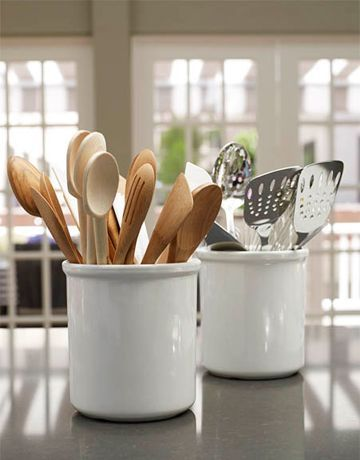 18. Organize wood and stainless-steel utensils into separate crocks. Ina Garten for House Beautiful.