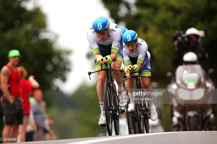 Luke Durbridge of Australia and Orica Greenedge leads teammate Adam Yates of Great Britain and Orica Greenedge during stage nine of the 2015 Tour de France, a 28km team time trial between Vannes and Plumelec on July 12, 2015 in Le Liziec, France. #TDF2015 #rm_112