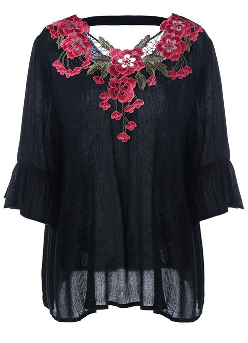 Plus Size Embroidery Appliqued Flare Sleeve Blouse