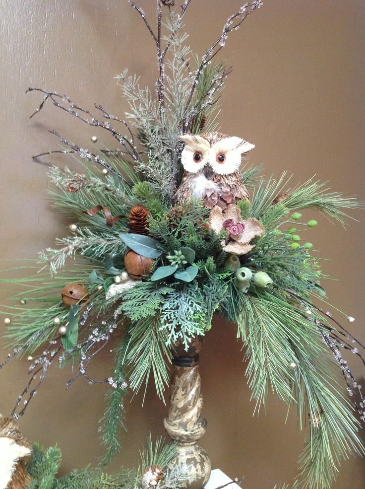 Owl floral design. Love serene color. The owl isn't for me but could use deer, angels, toys, christmas ornament, instrument, group of cones, fruit, berries