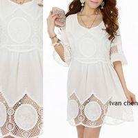 2014 платье мода женская блузка винтаж 70 s топ резка-10шт из кружева вспышка рукав белый хлопок чистой крючком свадьба ну вечеринку одежда