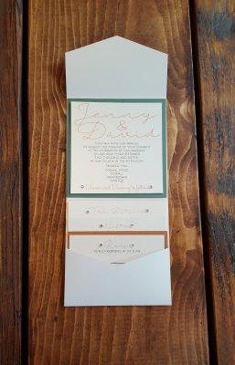Sage and Copper Pocketfold Bespoke Wedding Invitations
