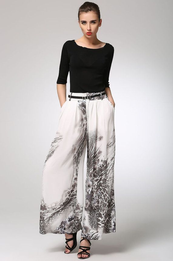 Maxi chiffon pants long women pants 1301 by xiaolizi on Etsy