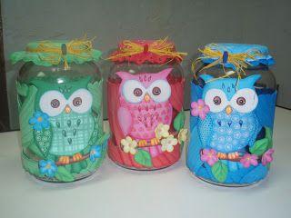 Manualidades para ti: Vidrios decorados con lechuza feliz