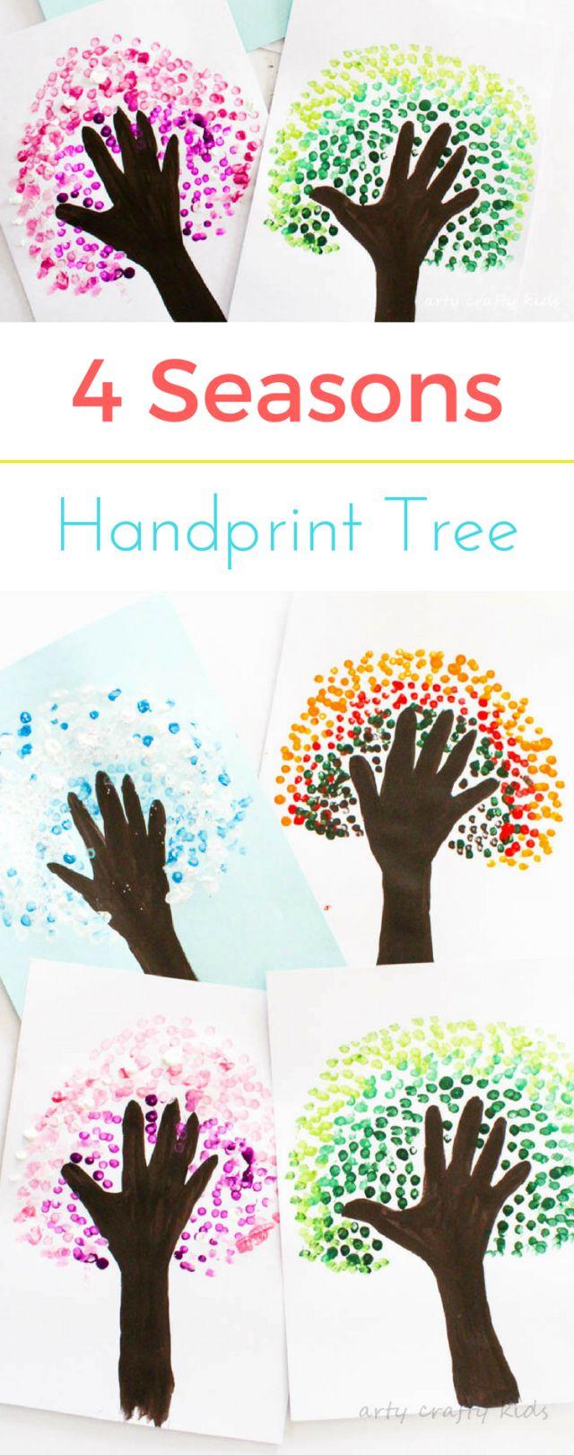 Arty Crafty Kids   Art   Four Season Handprint Tree   A fun seasonal art project for kids. Create Autumn, Winter, Spring and Summer Handprint Trees - a great way for preschoolers to observe seasonal change!