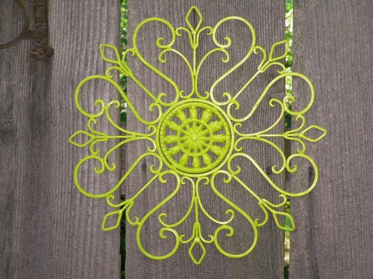 Metal Wall Decor Lime Green Painted Wall Art Patio Decor Wrought Iron Via Etsy