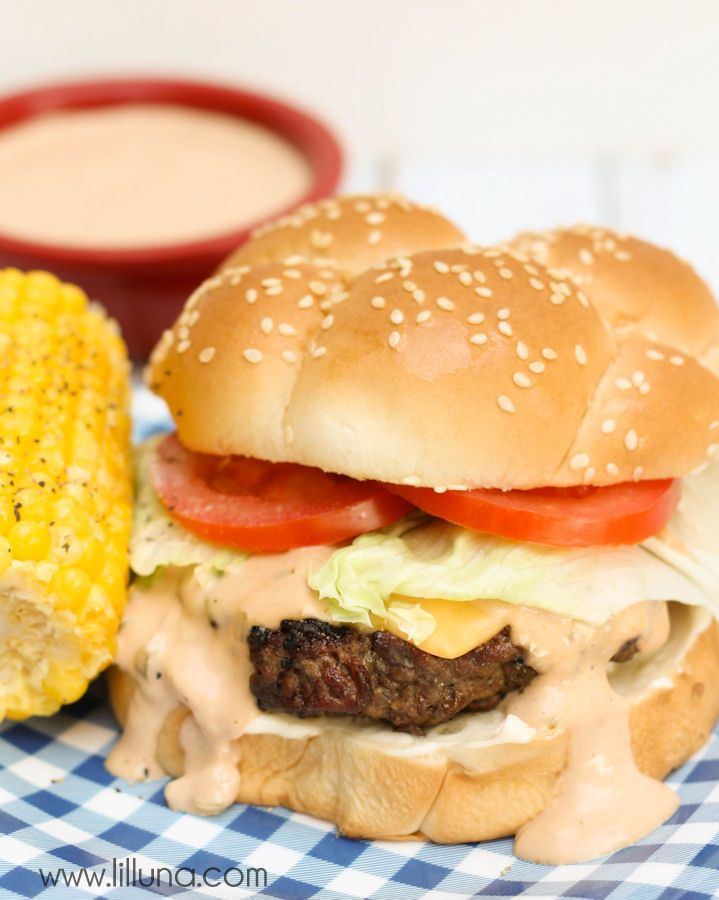 Delicious Ranch Burgers with special Sauce recipe on { lilluna.com } #hamburgers