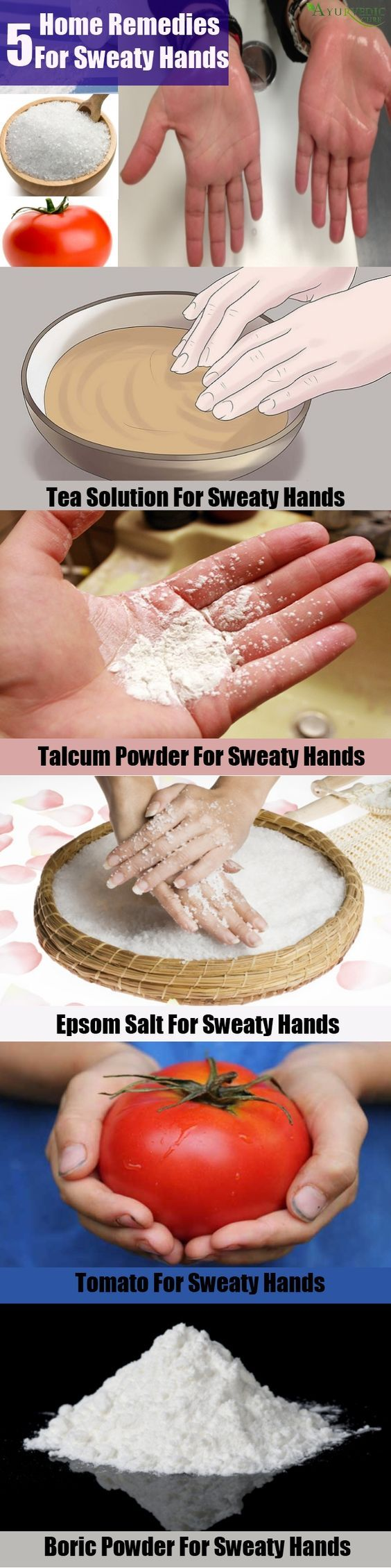 Palmar hyperhidrosis or sweaty hands can be treated with natural ingredients available at home. Herbs and vitamins present in food items are very effective in treating sweaty hands. Epsom salt present at home can be used effectively to treat sweaty hands. Proper diet is another important remedy which you should never ignore.