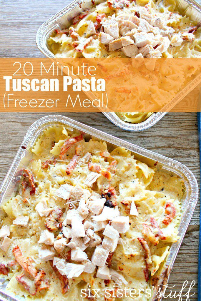 20 Minute Tuscan Pasta from Six Sisters' Stuff | Looking for a quick delicious easy meal? These 20 Minute Tuscan Pasta (Freezer Meal) is quick, easy, and one of our new family favorites! You need to try this easy, amazing dinner!
