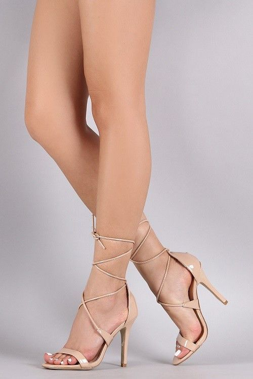 Nude Lace Up Patent Heels                                                       …