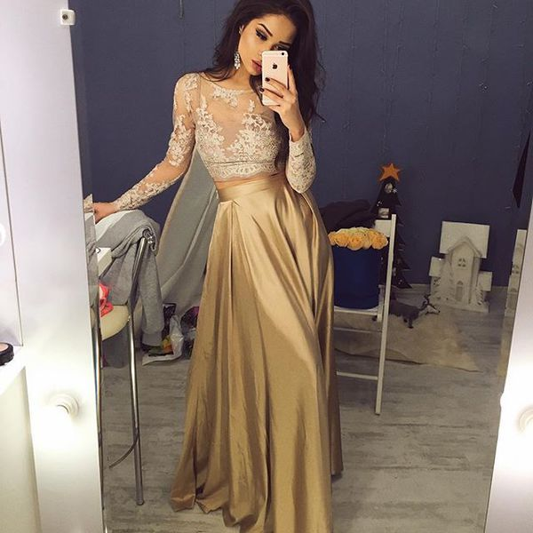 Two Pieces Prom Dresses, Long Sleeves gold prom dress,Lace evening dress,2016 Prom Dress