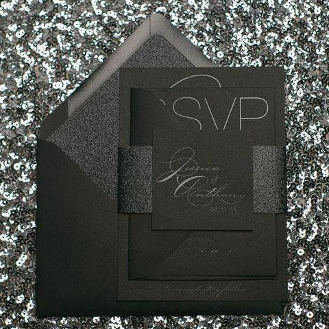 JESSICA Suite Glitter Package, black on black, black gloss foil stamping, black glitter, modern wedding invitation, black tie wedding, modern wedding invitations