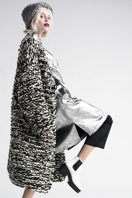Knitted coat by Anna Dudzinska