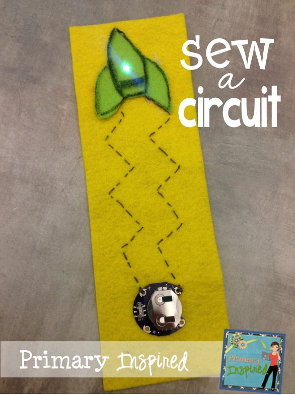 STEM - Sew a Circuit! Students learn more about e-textiles & create their own light-up bookmark!