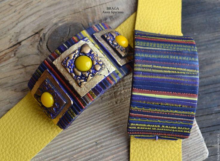 Купить Браслет на ярко-желтой коже с магнитной застежкой. - желтый, фиолетово-желтый, желтая кожа