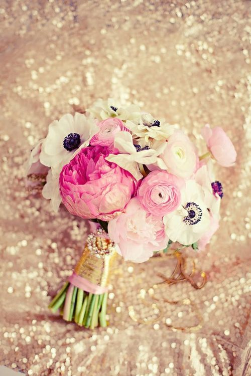 Sparkly wedding with a pink and gold bouquet (does have peonies but could sub for garden roses)