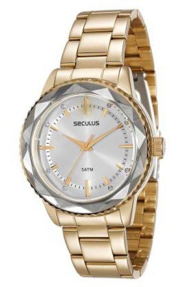 20368LPSVDS1 Relógio Feminino Dourado Seculus Versatile