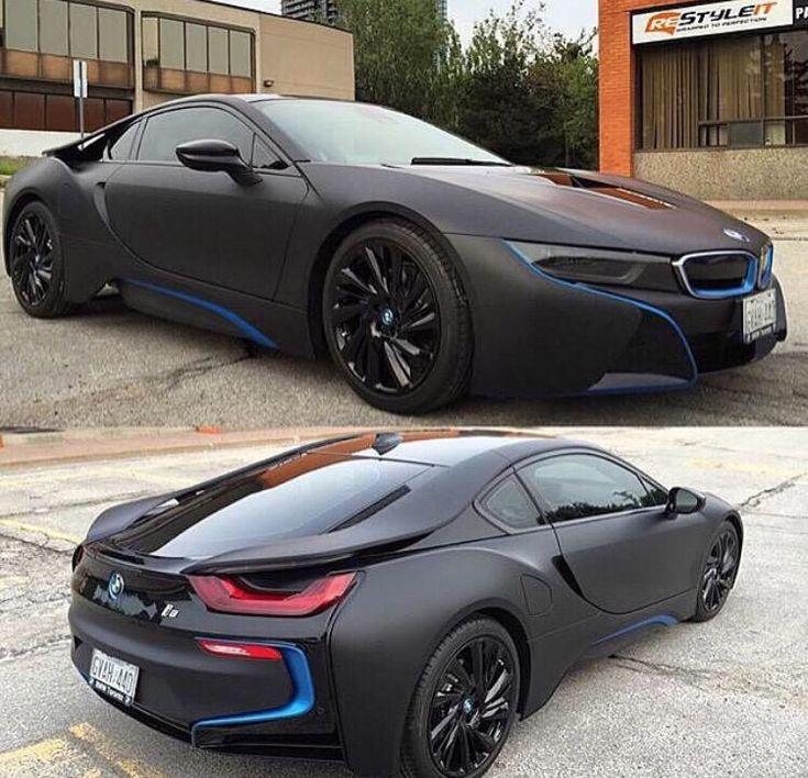 Bmw I8: Matte Black BMW I8 With Blue Details
