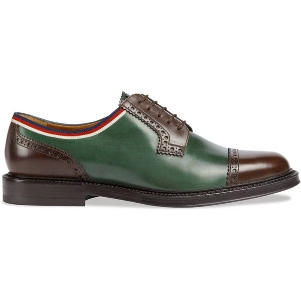 Gucci Leather Brogue Shoe ($1,050) ❤ liked on Polyvore featuring men's fashion, men's shoes, men's oxfords, mens leather shoes, mens leather lace up shoes, mens lace up shoes, mens brogue shoes and gucci mens shoes