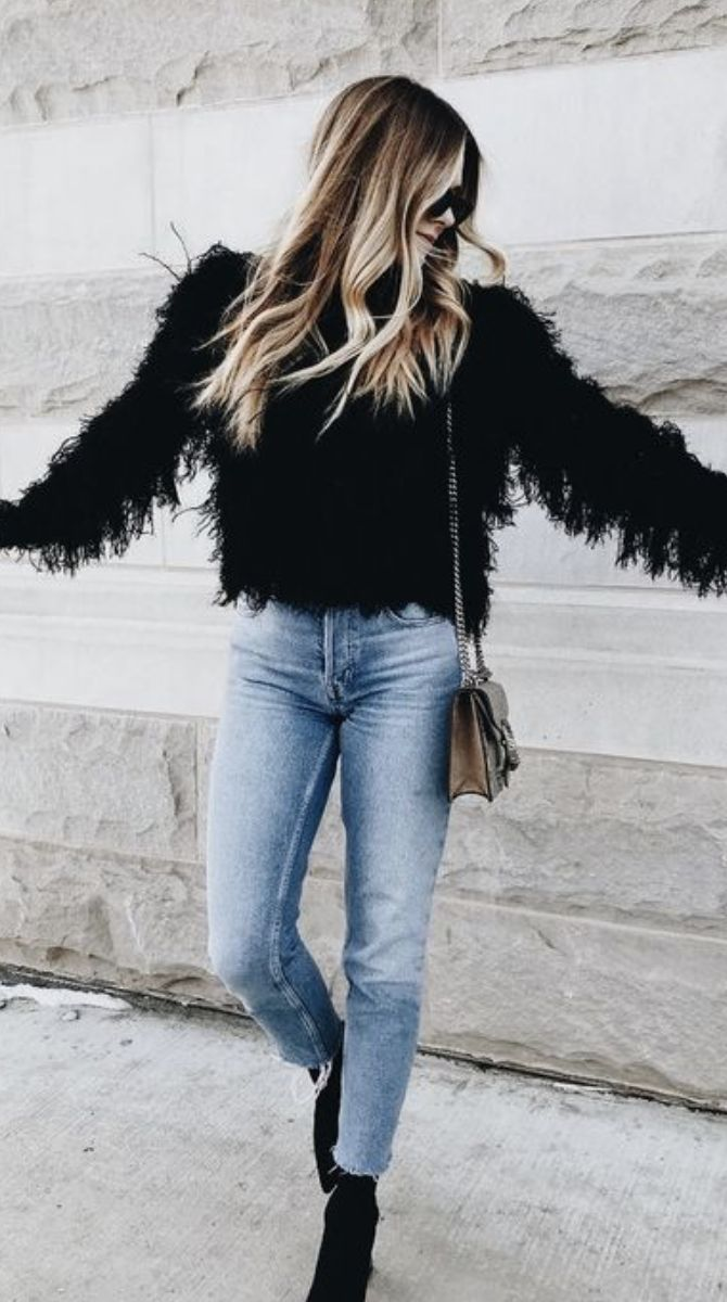 fuzzy jacket + ankle jeans + booties #ootd