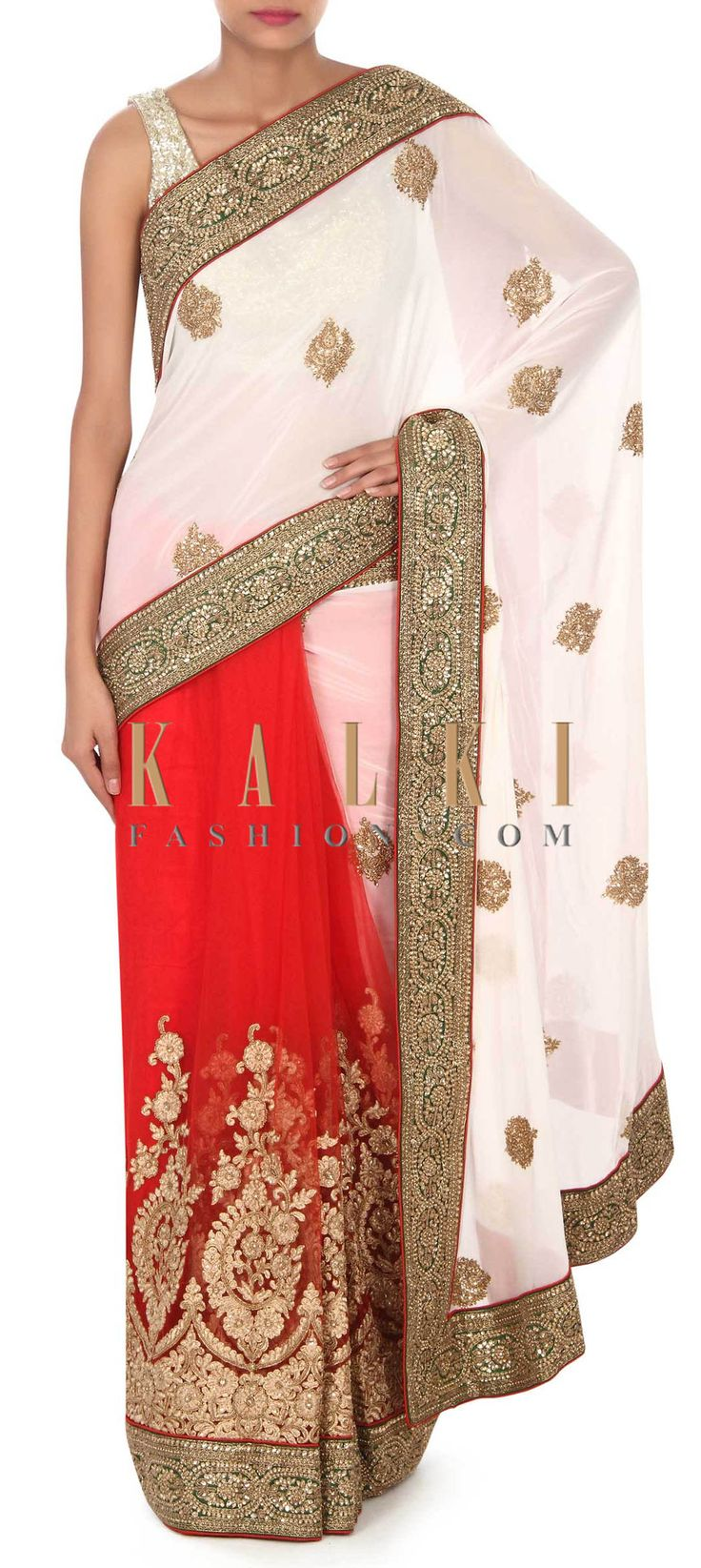 Buy this White and red lehenga saree in moti embroidery only on Kalki