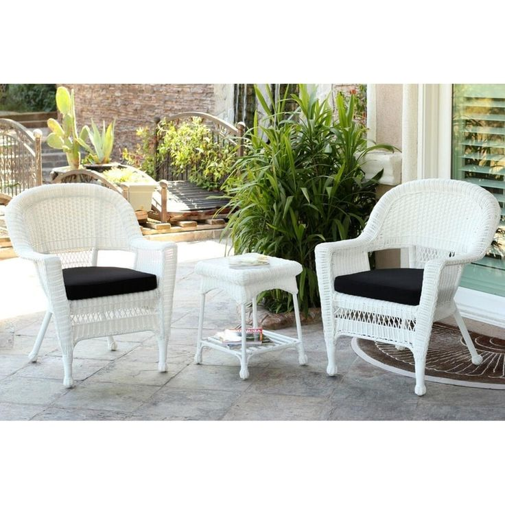 Jeco 3 Piece White Resin Wicker Patio Chairs And End Table Furniture Set    Black Part 82