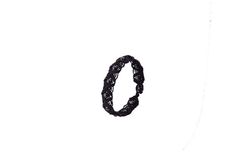 Πλεκτό ανδρικό βραχιόλι με αιματίτη - Macrame bracelet for men with hematite