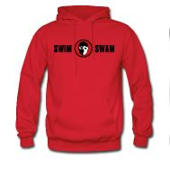 SwimSwam's classic men's red hoodie made from 50% cotton and 50% polyester by Hanes. Stay warm and look good too- only available at the SwimSwam Swag Store! ($39.99)
