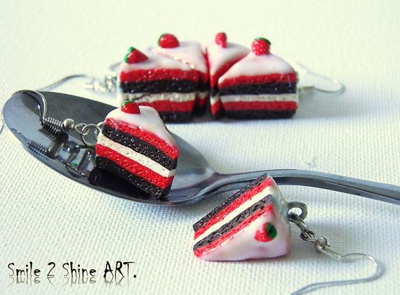 Stawberry cake earringschocolate cake by Smile2ShineArt on Etsy