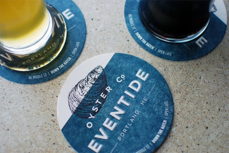 Eventide Oyster Co. coaster design by brand design firm Might & Main | maine