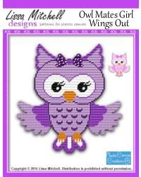 Owl Mates in purple - can be stitched in pinks also! Collect all 6! Created from the original beautiful artwork by Cherry Thelen. This is a single page pattern.