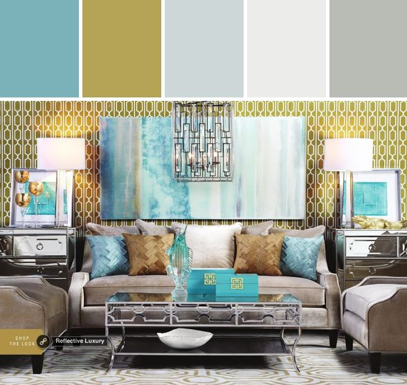 Inspired By This Reflective Luxury Look On Gallerie From Z Living Room Turquoise Blue Grey Gold Brown Beautiful