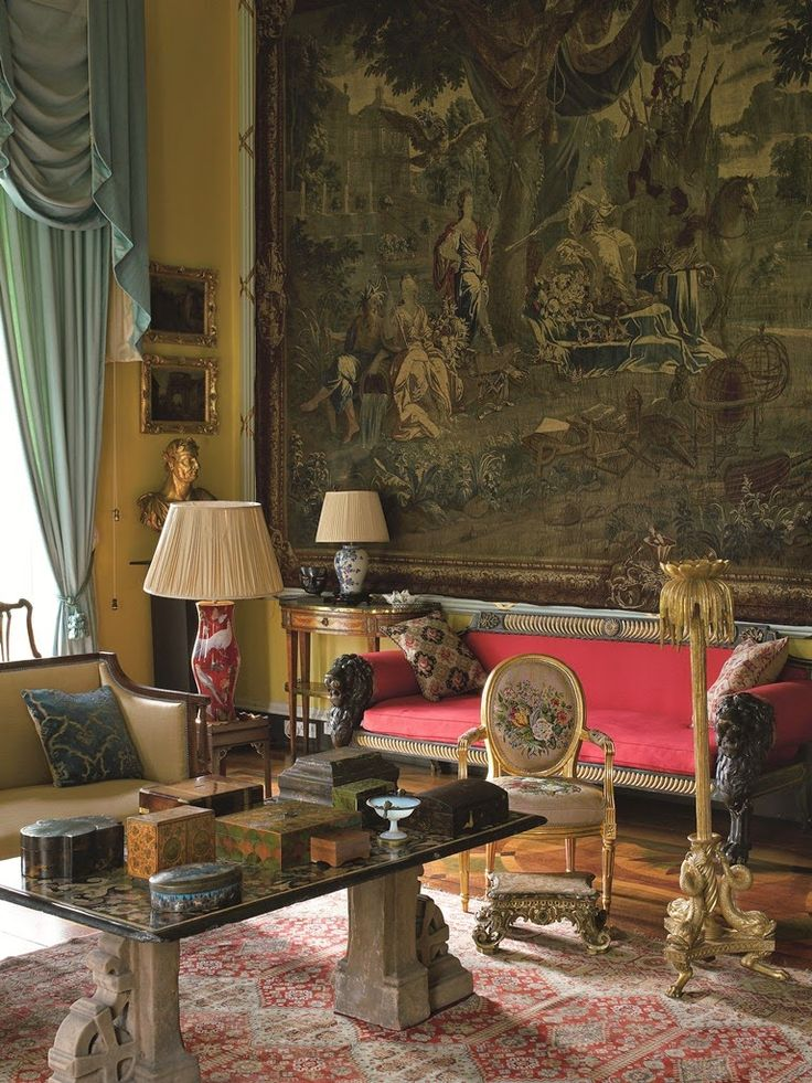 The drawing room at Renishaw Hall, home of the Sitwells.