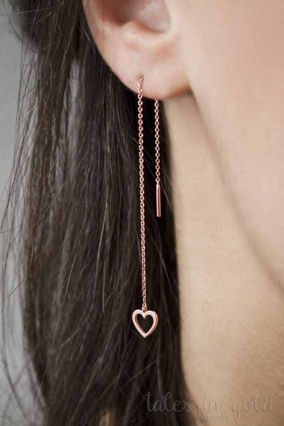 Heart Earrings Long Earrings Gold Earrings Threader by TalesInGold