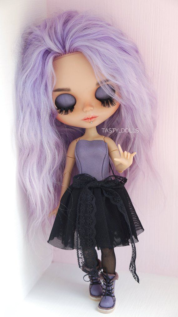 Do not pay! Eva TBL OOAK Custom Piercing Blythe with Piercings Doll Fashionable Fabric Dress Collectible Blythe Doll Home Decor Birthday Gift
