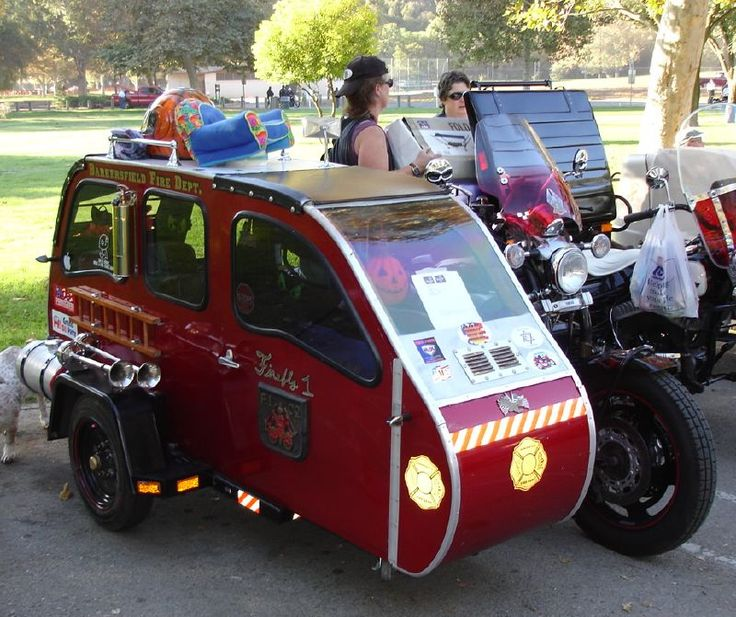 STRANGE MOTORCYCLE SIDE CARS - MINI TRAILER/SIDECAR - BAKERSFIELD FIRE DEPT.