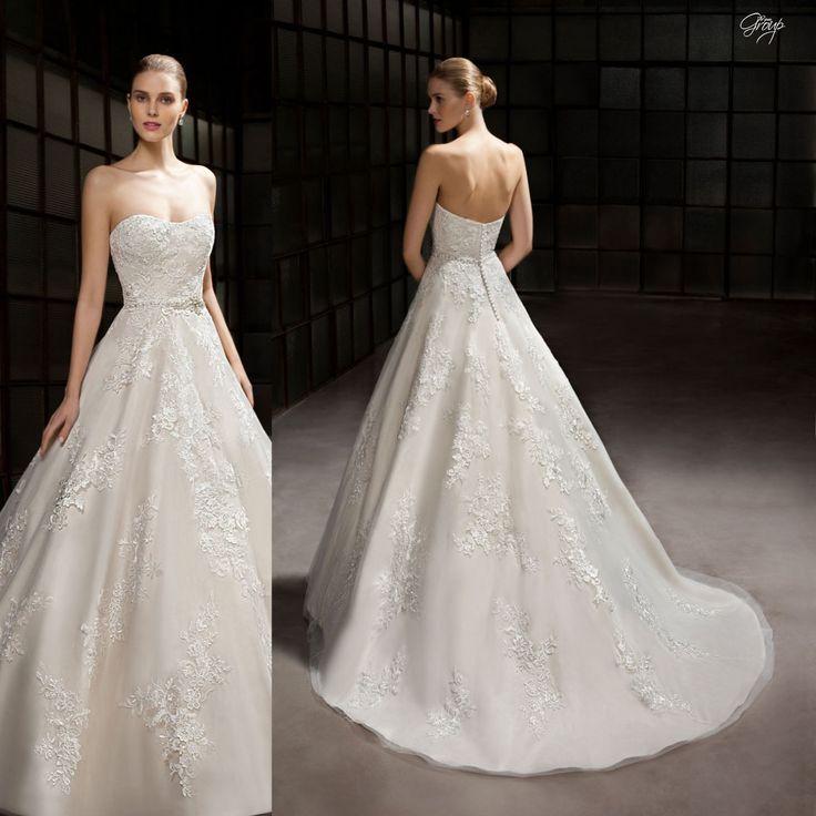 Splendido abito da sposa impero con motivi floreali in perle articolo 7814 The Sposa Group