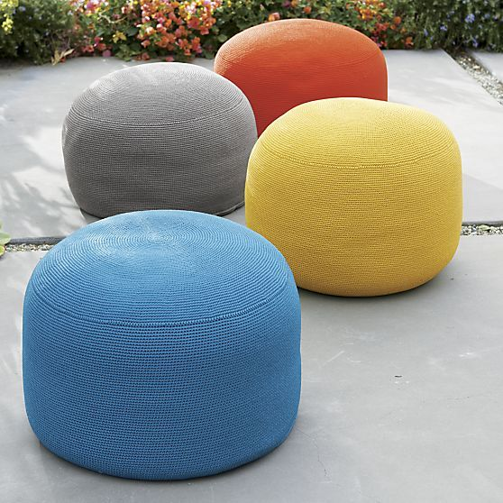 43 best images about ottomans and cubes chairs on for Crate and barrel pouf