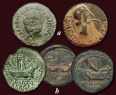 Ases: a.- Emerita Avgusta; b.- Ilercavonia. El agua en la moneda romana.