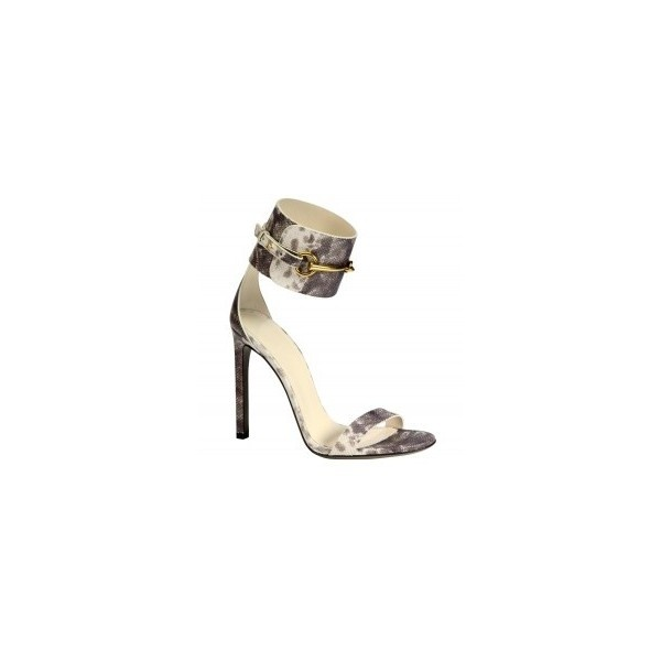Gucci Ursula Leather Horsebit Ankle Strap Sandals ShopBAZAAR ($50) ❤ liked on Polyvore
