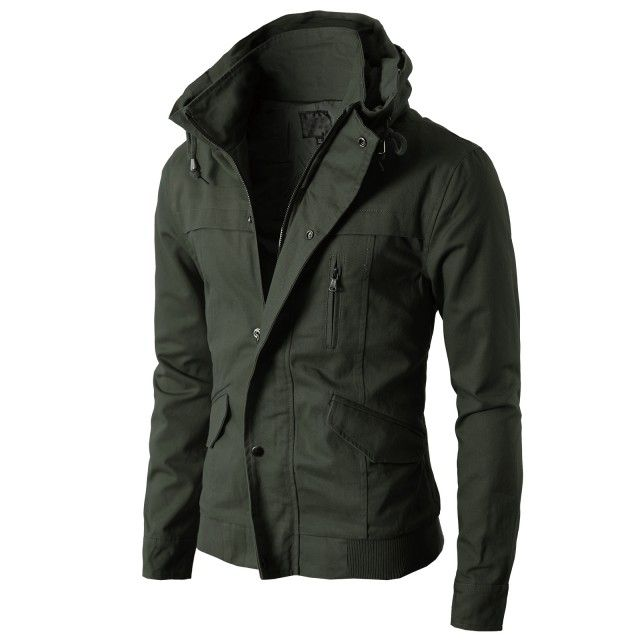 Mens High neck Field Jackets without Hood KMOJA024 from Doublju