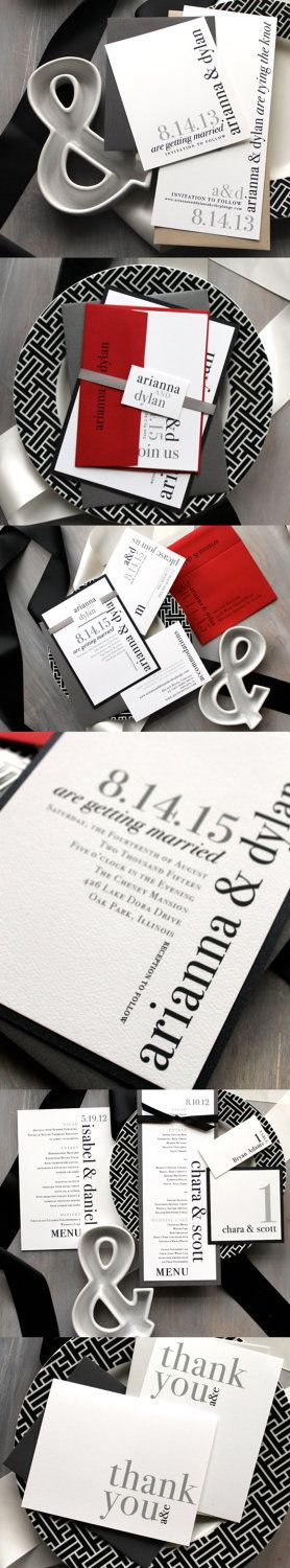 Urban Elegance - Modern Wedding Invitations, Save the Date Cards, Thank You Cards, Menus, Black & White Table Numbers, Tented Place Cards #mybeaconlane