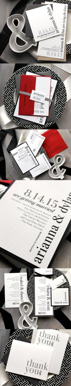 Modern Wedding Invitations, Black, White, Gray, Red Wedding, BeaconLane