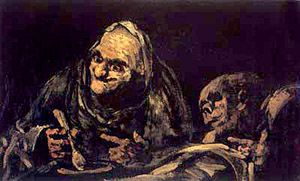 "'Old Men Eating' by Francisco Goya: One of his ""Black Paintings"" done between 1820 and 1824. Goya painted this series of paintings directly on the walls of his home outside of Madrid. This one is one of my favorites because of how eerie the faces are."