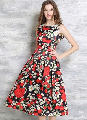 Polyester Florale Sans manches Midi Vintage Robes (1014638) @ floryday.com