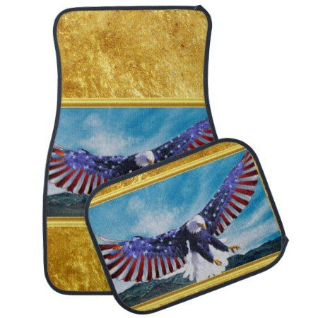 American flag Eagle flying in the sky gold foil tap/click to personalize or buy right now! a custom gold foil texture car mats #baldeagles #patrioticdesigns #Americanflag #4thOfJuly