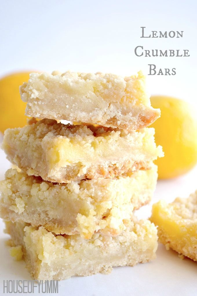 Lemon Crumble Bars. Soft buttery crust topped with homemade lemon curd and more buttery crumbles!
